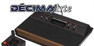 Imagem da primeira edição da Décima Arte, com a foto de um Atari sob o logo da coluna. A primeira edição trata de jogos eletrônicos e discute arte e estética.
