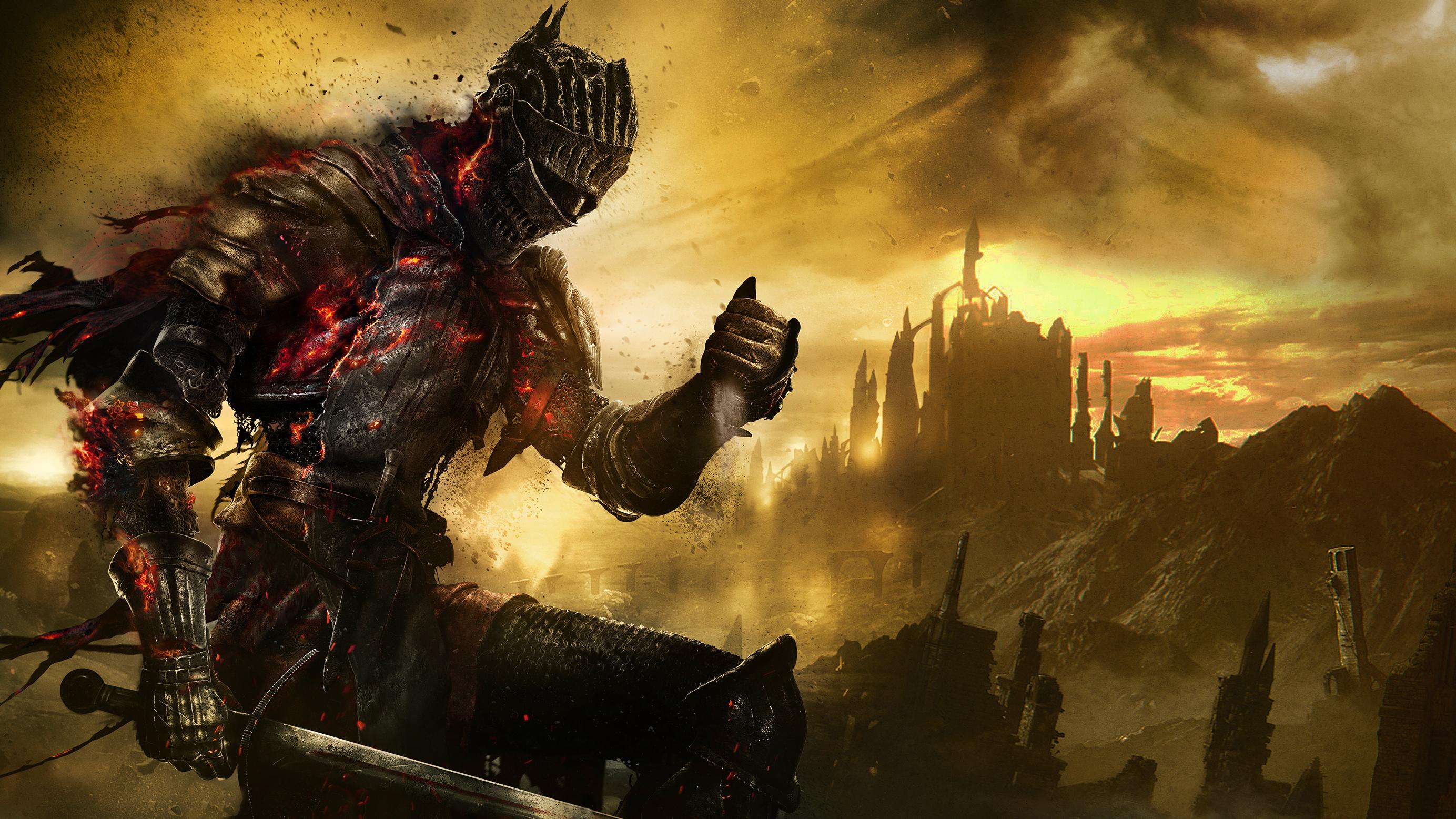 Imagem de Dark Souls 3 que mostra um guerreiro medival fazendo cinzas caírem lentamente de sua mão.