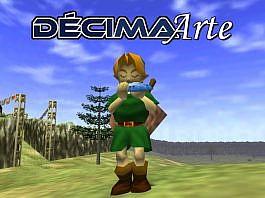 Imagem da edição da Décima Arte sobre o uso de som nos videogames, que mostra a logo da coluna e Link tocando uma ocarina em Ocarina of Time.