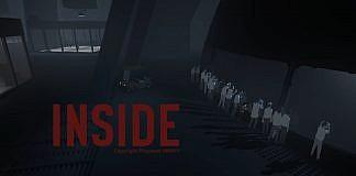 Imagem do jogo Inside, que mostra cientistas olhando curiosos por um vidro, com a logo do jogo.