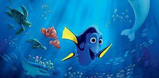Imagem do filme Procurando Dory, ou Finding Dory, da Pixar. A imagem mostra Dory, Marlin e Nemo.