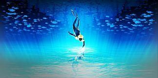 Imagem do jogo ABZÛ. Na imagem, um mergulhador toca a superfície da água onde está seu reflexo. a imagem está invertida para causar uma confusão entre o que está em cima ou embaixo.