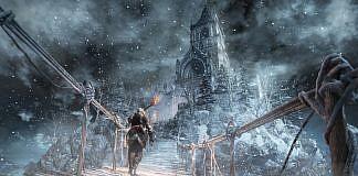 Imagem do jogo Dark Souls 3, que mostra a área nevada onde se passa o DLC Ashes of Ariandel