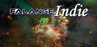 Imagem da edição da coluna Falange Indie sobre Bastion, o primeiro jogo da Supergiant Games. a imagem mostra uma cena do jogo com a logo da coluna.