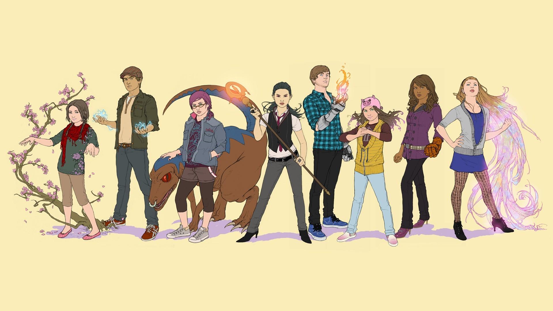 Imagem dos quadrinhos Runaways, ou Fugitivos, na segunda formação da equipe, com oito integrantes.