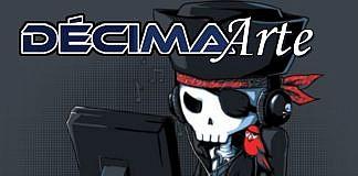 Imagem oficial da edição da Décima Arte sobre DRM, pirataria e livre acesso. A imagem mostra o desenho d um esqueleto vestido de pirata na frente de um computador, com a logo da coluna.
