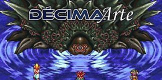 Imagem da edição da coluna Décima Arte sobre como o gameplay serve para construir narrativas em videogames. A imagem mostra a batalha contra Lavos e Chrono Trigger, com a logo da coluna.