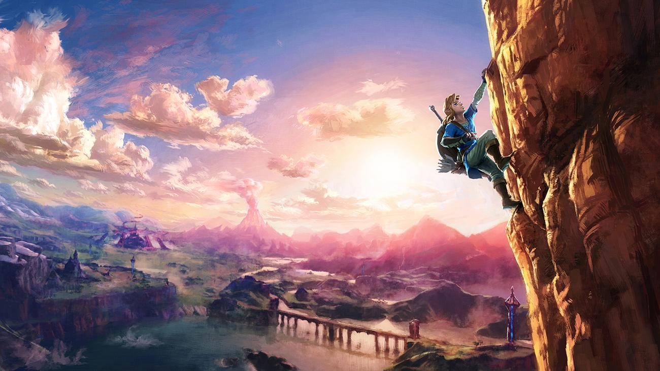Imagem de divulgação de The Legend of Zelda: Breath of the Wild, que mostra Link escalando uma montanha.