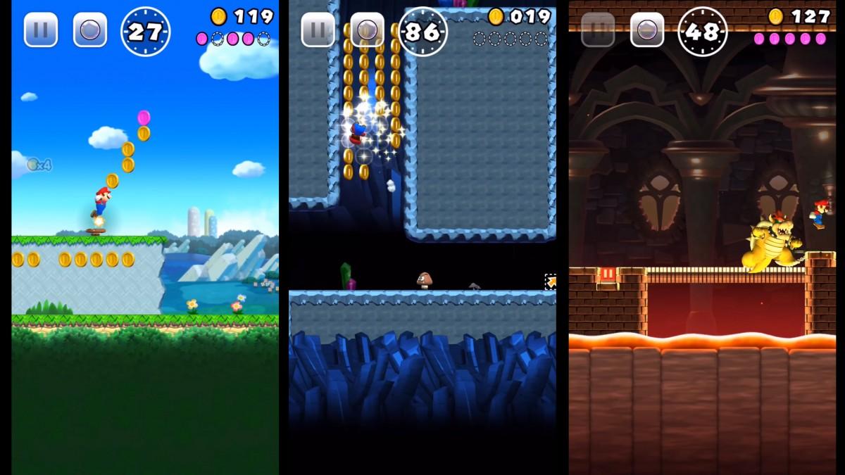 Imagem do jogo Super Mario Run, da Nintendo, para smartphones. A imagem possui três telas de celular, cada uma com uma fase diferente do jogo.