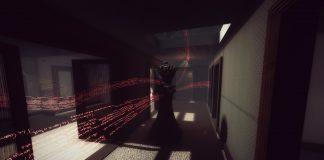 Imagem do jogo All The Delicate Duplicates. A imagem mostra o corredor de uma casa onde palavras brilhantes flutuam no ar.