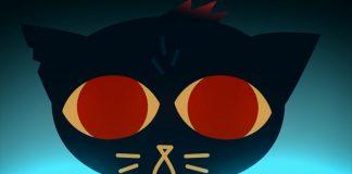 Imagem do jogo Night in the Woods. A imagem mostra o rosto da protagonista Mae em close. A protagonista é uma gata azul com grandes olhos vermelhos.