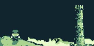 Imagem do jogo indie brasileiro Warlock's Tower. A imagem mostra o carteiro olhando para a torre do vilão à distância.