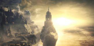 Imagem do DLC The Ringed City, de Dark Souls 3. A imagem mostra uma torre antiga, sobre uma pequena ilha de terra contra um céu ensolarado e cheio de nuvens.