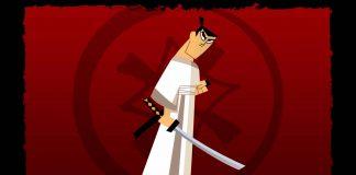 Imagem da série Samurai Jack, que mostra o samurai de frente da bandeira vermelha de sua família.