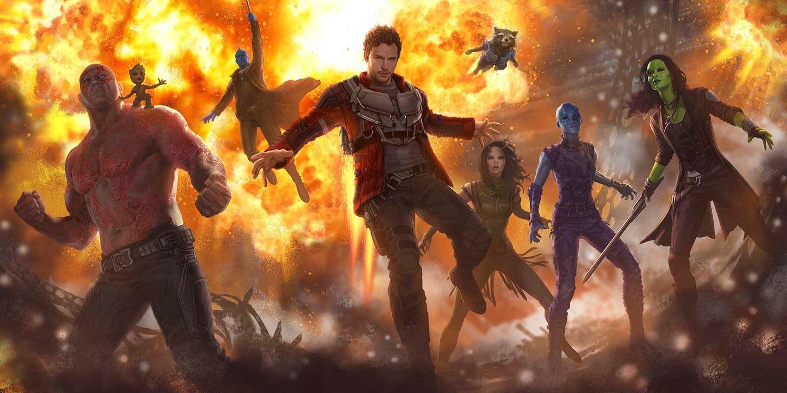 Imagem de Guardiões da Galáxia Vol. 2 (ou Guardians of the Galaxy Vol. 2) mostra Drax, Baby Groot, Yondu, Peter Quill, Rocket Raccoon, Mantis, Nebula e Gamora, num fundo de explosão.