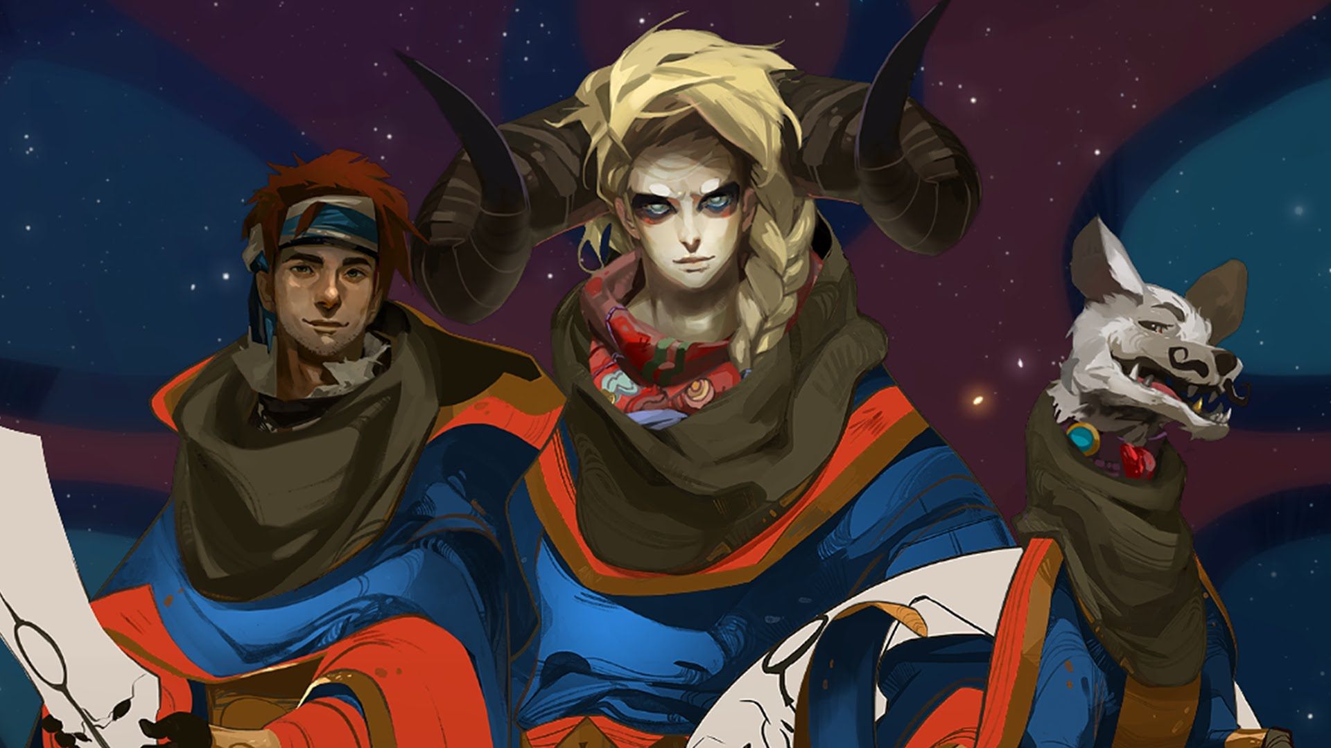 Imagem do jogo Pyre, da Supergiant Games, que mostra os três personagens iniciais da aventura.