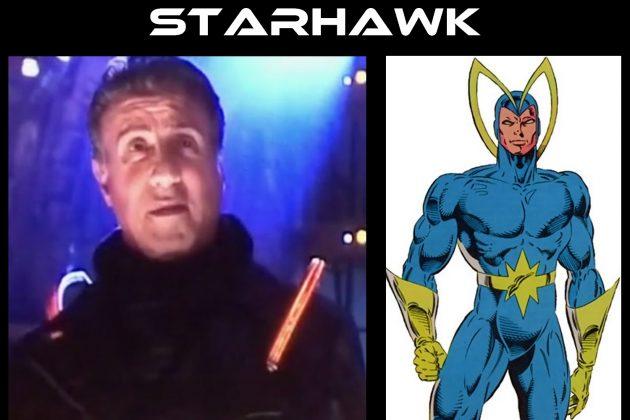 À direita, a versão de Silvester Stallone de Stakar no filme 'Guardiões da Galáxia Vol.2'. À esquerda, a versão dos quadrinhos da Marvel.