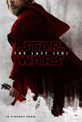 Luke Skywalker de vermelho no pôster do filme Star Wars The Last Jedi, Último Jedi