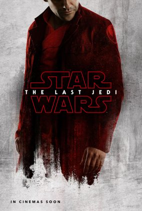 Poe de vermelho no pôster do filme Star Wars The Last Jedi, Último Jedi
