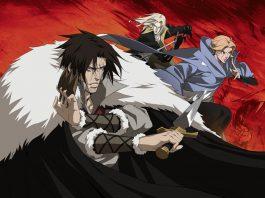 Trevor Belmont, Sypha Belnades e Alucard posam em posição de combate, enquanto, ao fundo, as chamas formam o rosto de Dracula, na série Castlevania da Netflix.