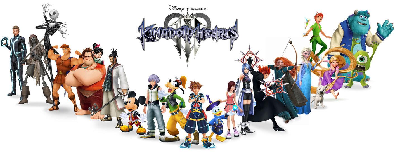 Imagem com a logo de Kingdom Hearts 3 no centro, e diversos personagens da Disney e da Square Enix lado a lado abaixo da logo