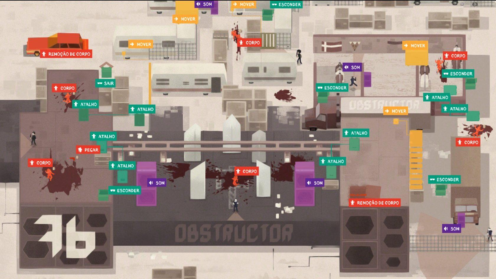Uma fase avançada de Serial Cleaner, da iFun4all, em que é possível ver o clima dos anos 70 e as mecânicas do jogo