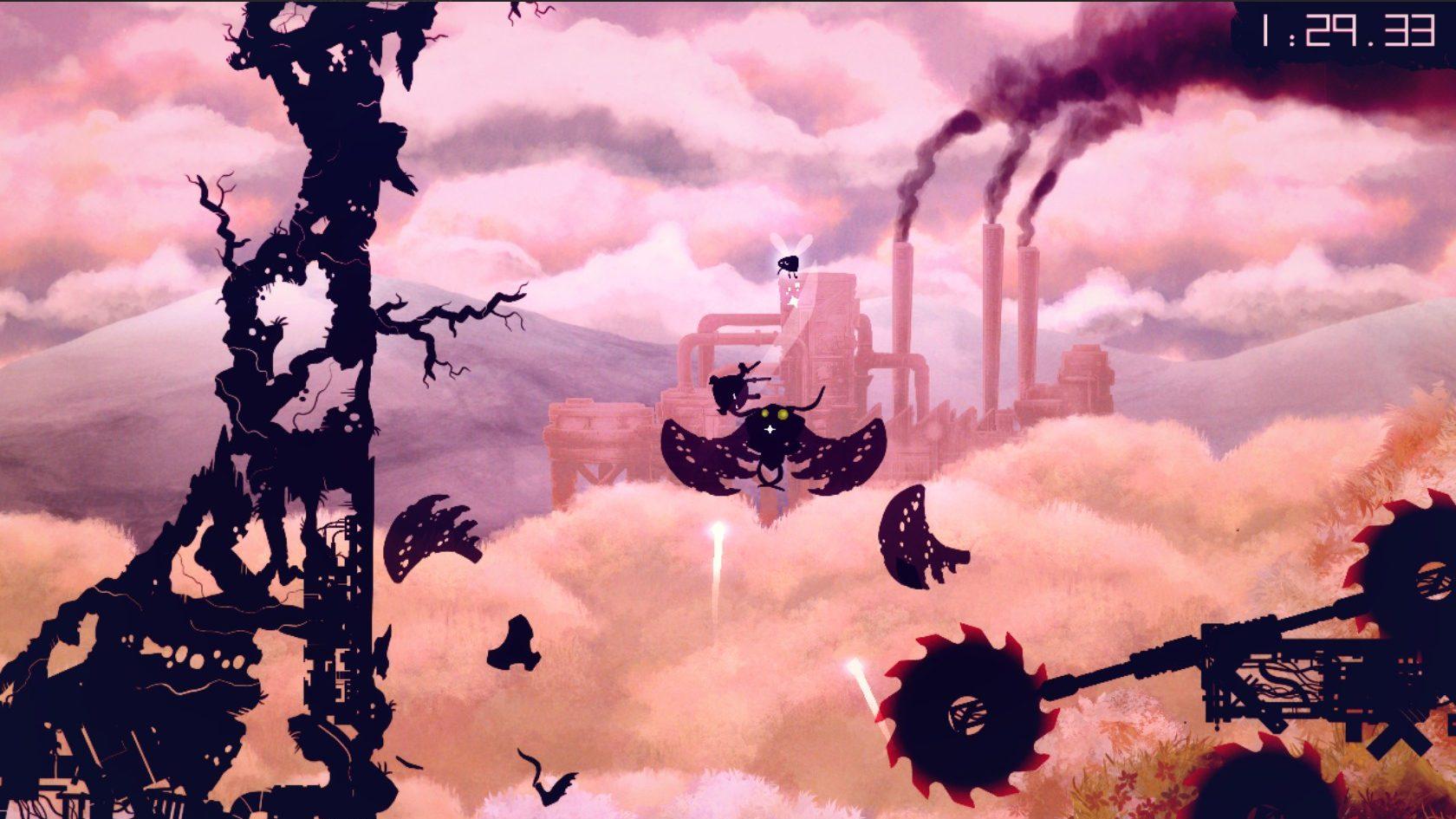 Uma fase inicial de Shadow Bug, que se passa na floresta, mas de onde é possível ver a fábrica ao fundo.