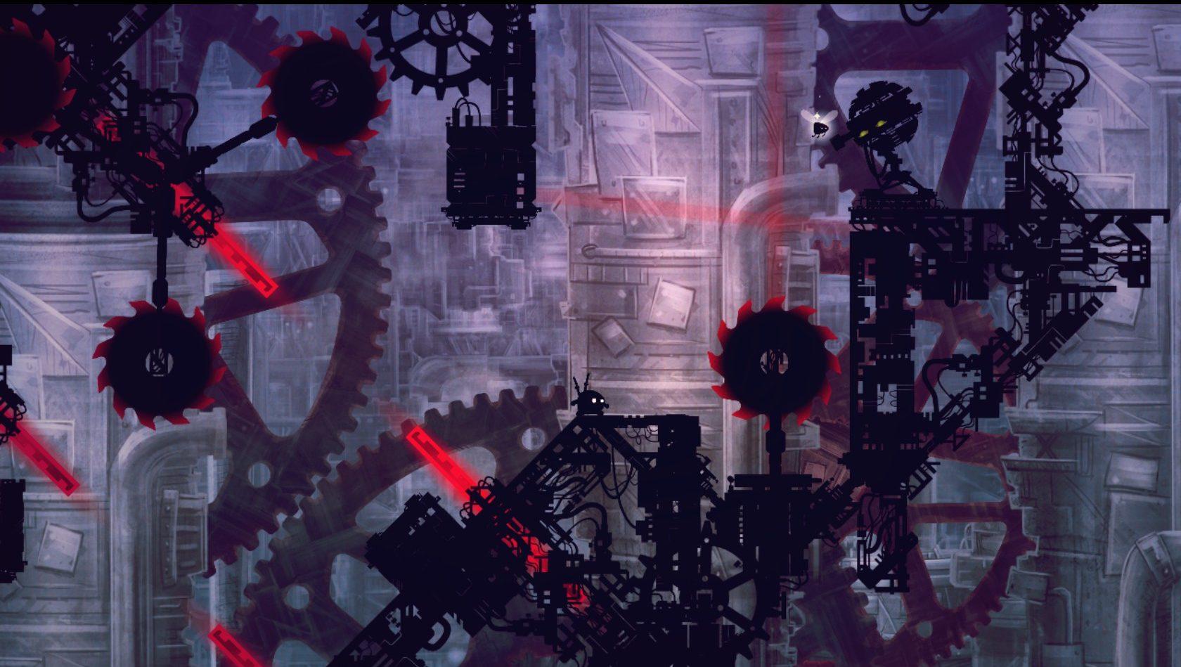 Uma fase avançada de Shadow Bug, cheia de lâminas giratórias e armadilhas de laser