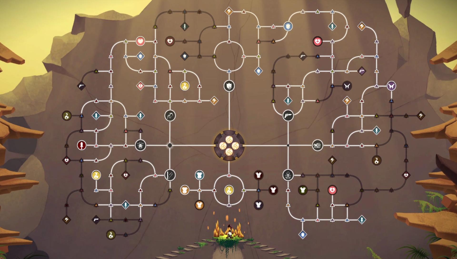 Árvore do Trapezoedro de Sundered, jogo da Thunder Lotus Games, jogo metroidvania inspirado em Lovecraft