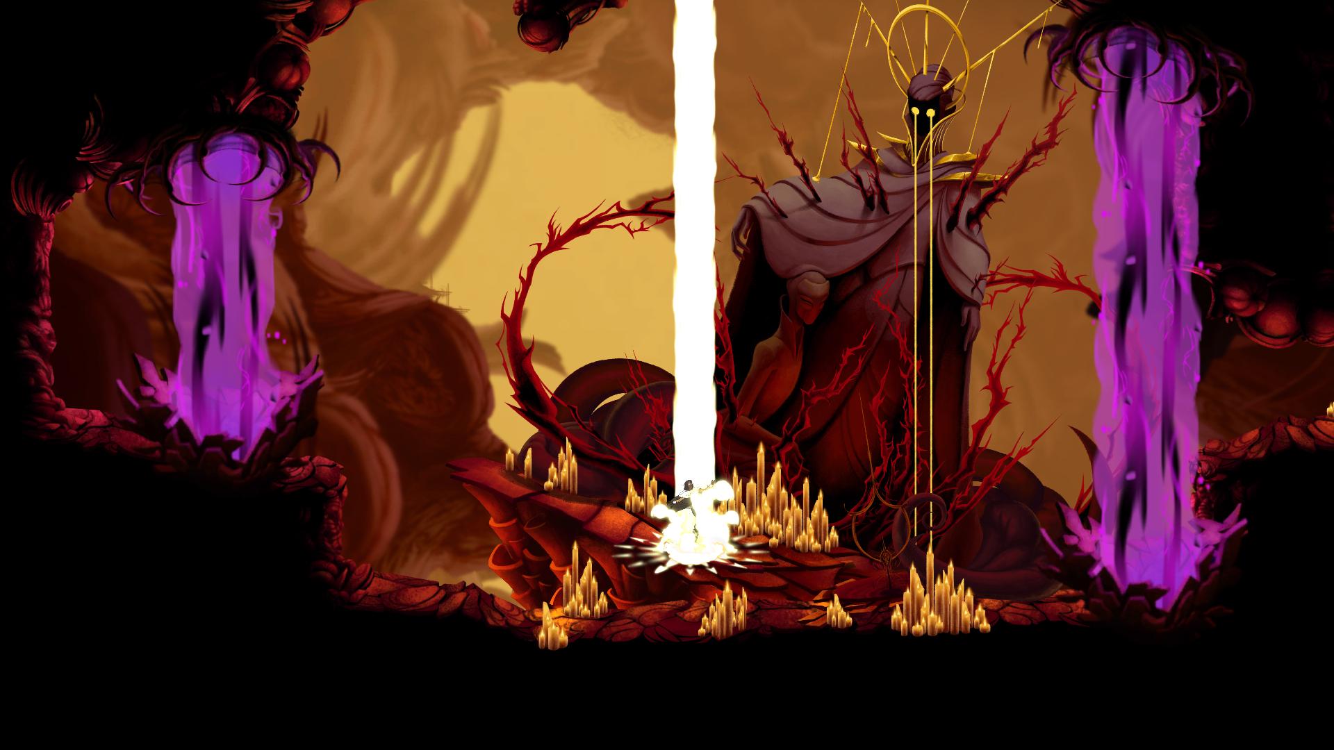 Um Altar de Habilidade de Sundered, jogo da Thunder Lotus Games, jogo metroidvania inspirado em Lovecraft