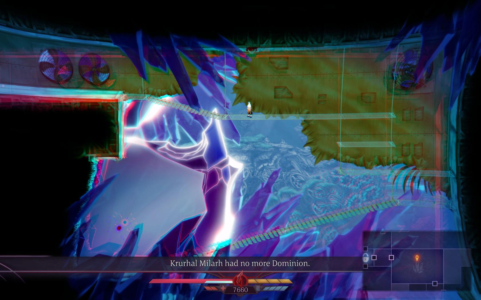 Uma imagem da área de estória de Sundered, jogo da Thunder Lotus Games, jogo metroidvania inspirado em Lovecraft