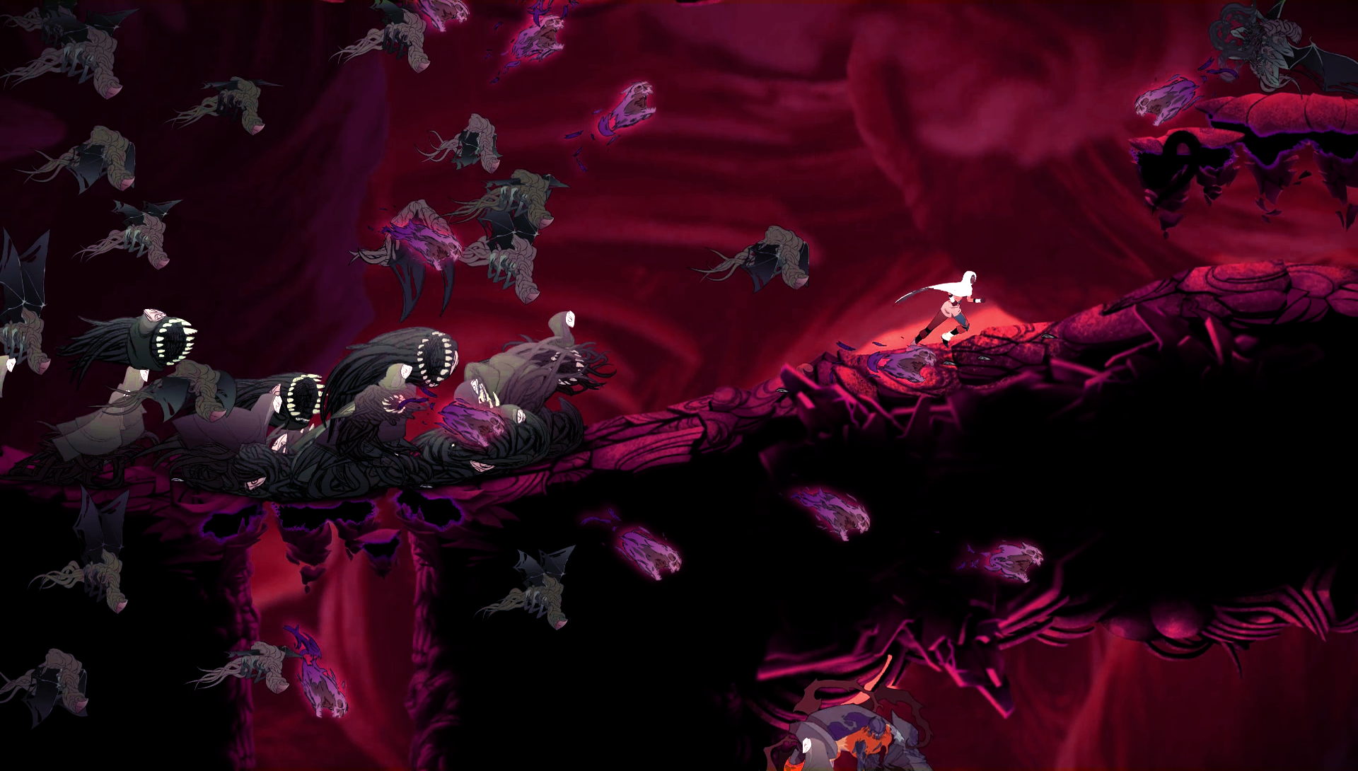 um ataque de Horda em Sundered, jogo da Thunder Lotus Games, jogo metroidvania inspirado em Lovecraft