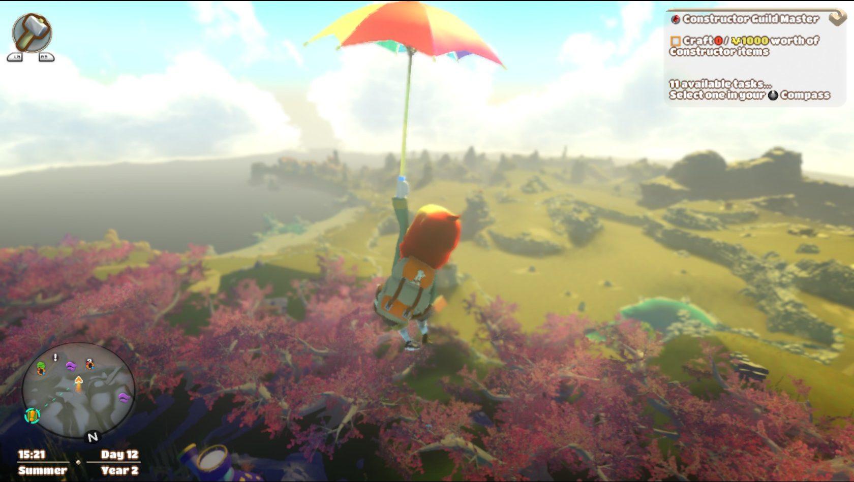 A personagem do jogo Yonder The Cloud Catcher Chronicles plana em um guarda-chuva