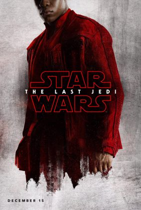 Finn de vermelho no pôster do filme Star Wars The Last Jedi, Último Jedi