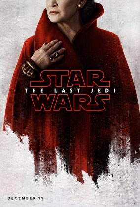Princesa Leia de vermelho no pôster do filme Star Wars The Last Jedi, Último Jedi