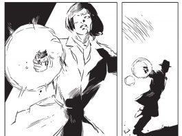 Cena de A Cidade Mais Fria, ou The Coldest City, graphic novel de Antony Johnston e ilustrada por Sam Hart. A cena mostra Lorraine Broughton, a protagonista, atirando contra um homem misterioso.