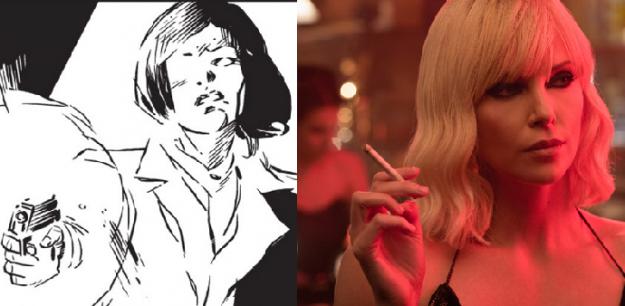 Imagens lado a lado da personagem Lorraine Broughton. À esquerda, o desenho do quadrinho A Cidade Mais Fria, ou The Coldest City. À direita, a imagem da atriz Charlize Theron.