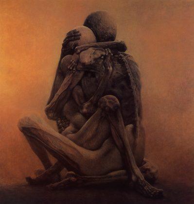 Uma das obras de Zdzisław Beksiński que irá inspirar o jogo Lust for Darkness, que mistura sexo e terror.