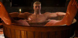 Geralt da Rivia descansa em uma banheira, em imagem da franquia The Witcher, da CD Projekt Red, que serve de inspiração para o livro de colorir Witcher 3