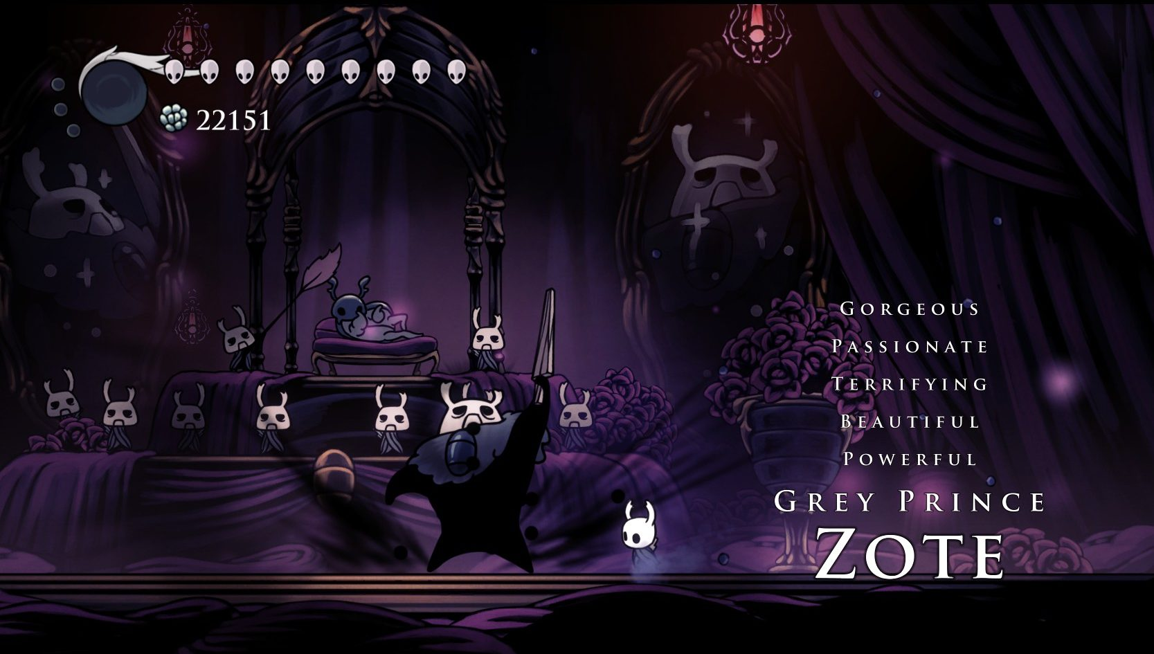 Imagem do mestre Grey Prince Zote de Hidden Dreams, DLC de Hollow Knight, Metroidvania da Team Cherry