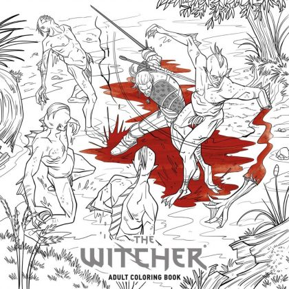 Geralt luta contra monstros em imagem que estará no livro de colorir Witcher 3 para adultos, da franquia The Witcher, da CD Projekt Red