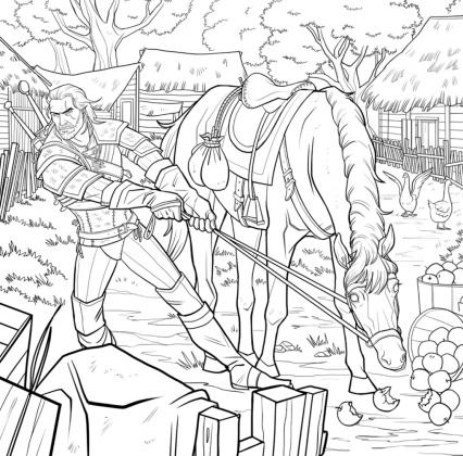 Geralt luta contra a teimosia de seu cavalo em imagem que estará no livro de colorir Witcher 3 para adultos, da franquia The Witcher, da CD Projekt Red