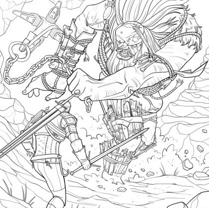 Geralt luta contra um gigante em imagem que estará no livro de colorir Witcher 3 para adultos, da franquia The Witcher, da CD Projekt Red