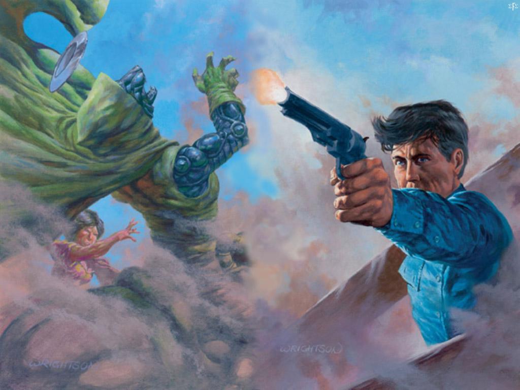 Desenho que ilustra o livro Lobos de Calla da série A Torre Negra, de Stephen King, em que robôs com cara de lobo e roupa do Doutor Destino aparecem.
