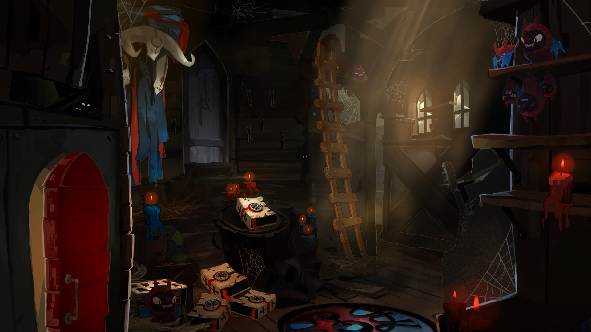 Cena de Pyre, terceiro jogo da Supergiant Games, que mostra o vagão utilizado pelos Nightwings para se mover em Downside.