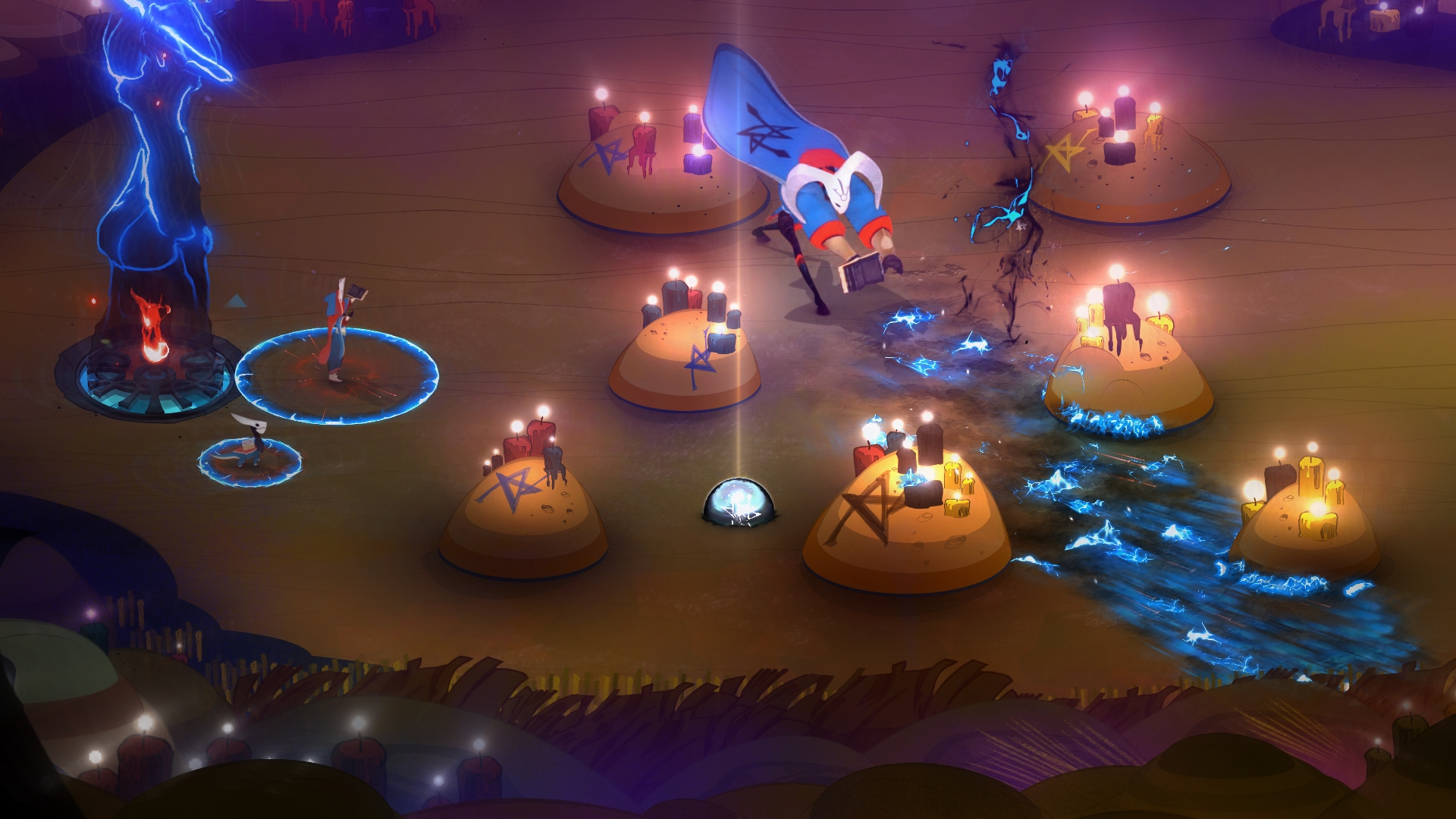 Cena de Pyre, terceiro jogo da Supergiant Games, que mostra um dos Ritos, em que Jodariel acaba de banir um inimigo após atirar sua aura.