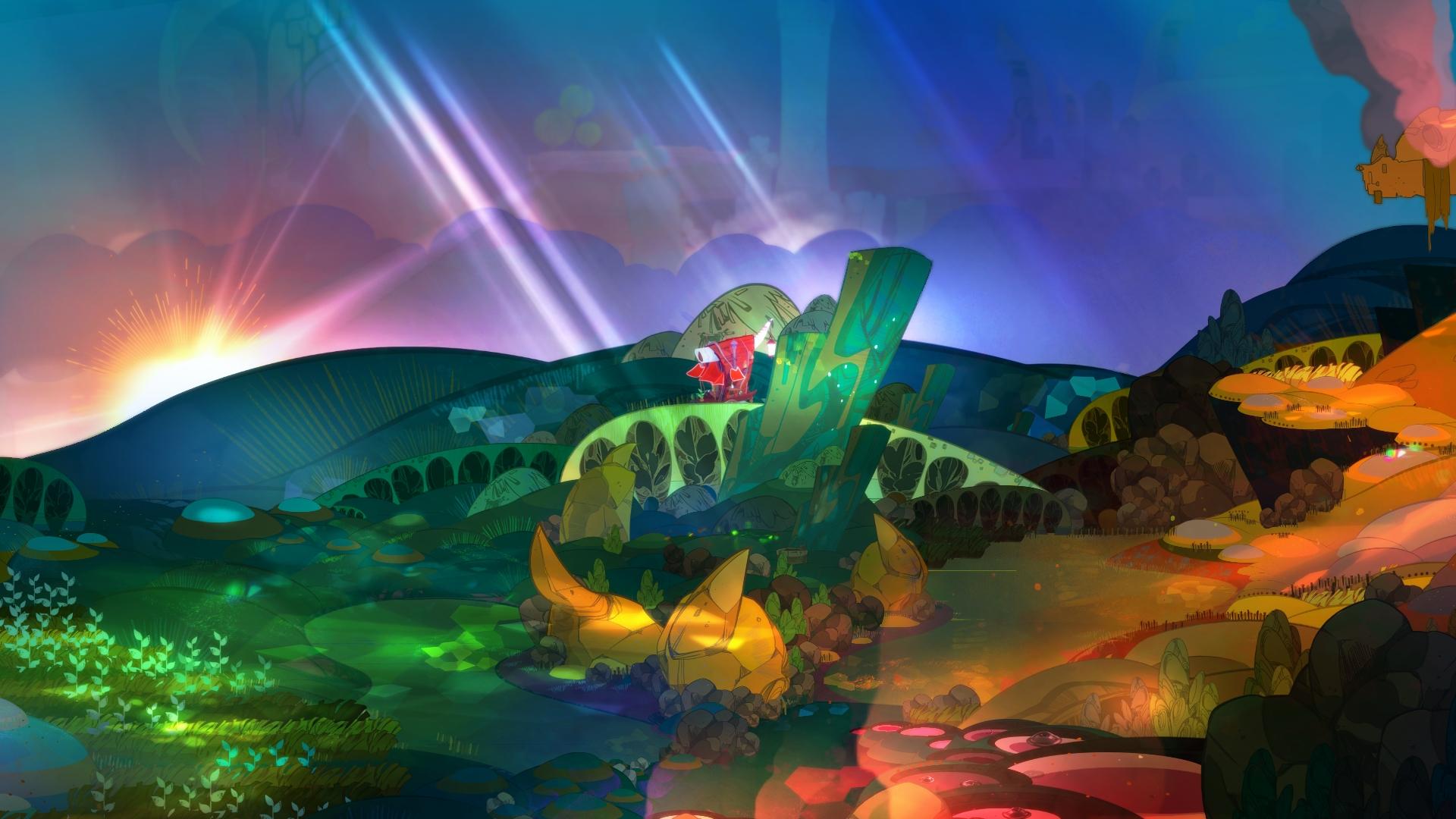Cena de Pyre, terceiro jogo da Supergiant Games, que mostra um dos cenários por onde o vagão dos Nightwings vaga.