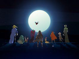 Cena de Pyre, terceiro jogo da Supergiant Games, que mostra todas as personagens