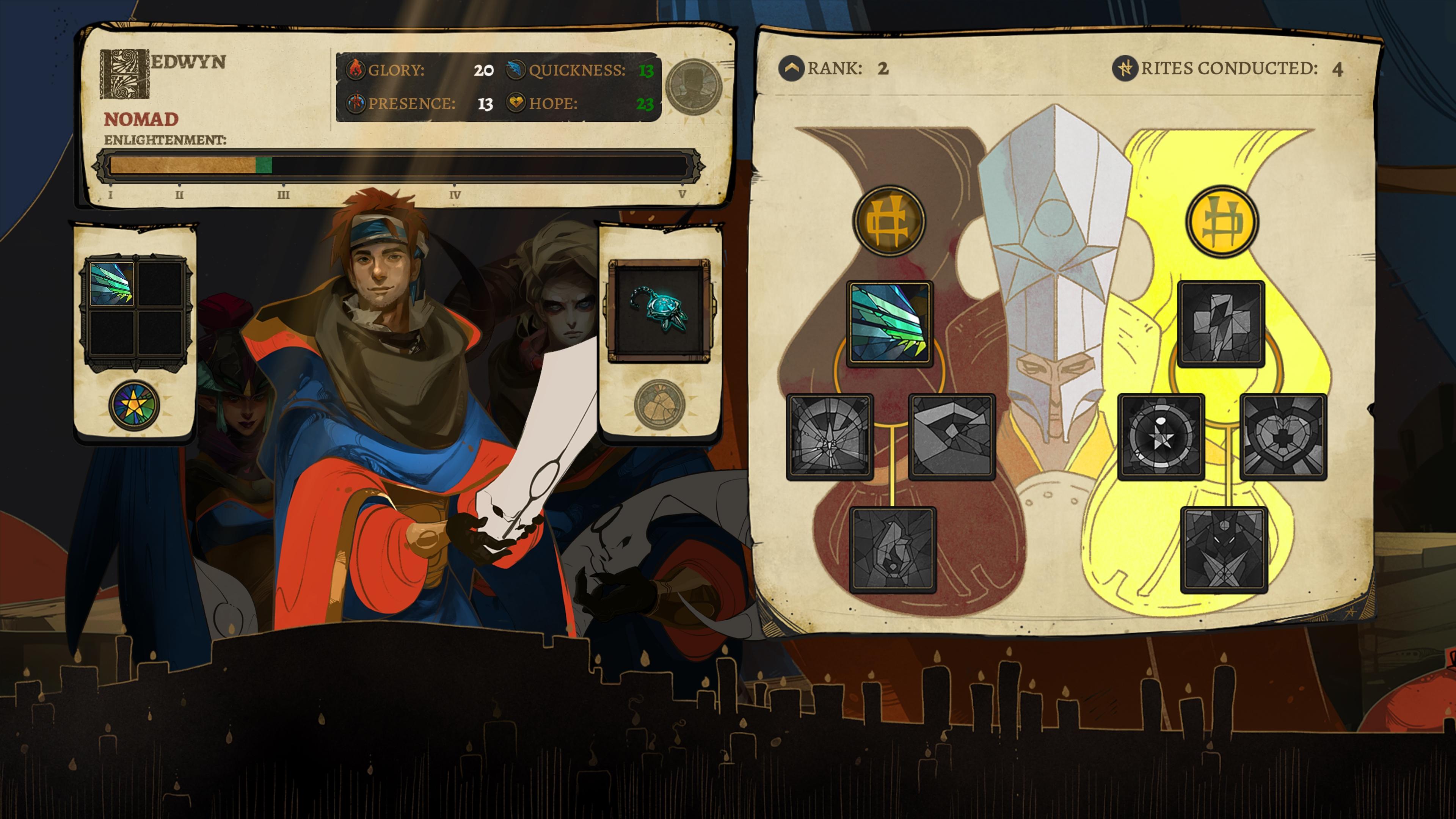 Cena de Pyre, terceiro jogo da Supergiant Games, que mostra a tela de seleção de personagens, em que é possível ver o caminho de skills.