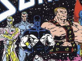 Imagem dos quadrinhos originais dos Guardiões da Galáxia, que inclui Stakar, Aleta Ogard, Charlie-27, Martinex e Yondu.